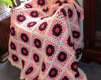 """New Large Afghan Blanket - Burgundy Raised Flowers on Pink and White - Crochet Couch Bed Wedding Size 70""""x58"""" - Hand Made USA Item 5663"""
