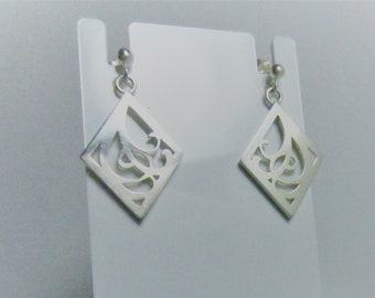 Sterling silver art nouveau inspired stud earrings
