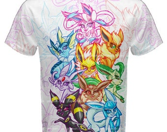 eab1dd486 Eeveelution Tee - White (MADE TO ORDER) Pokemon Eevee Umbreon Glaceon  Vaporeon Leafeon Flareon Espeon Sylveon