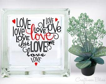 DIY Love Typography Subway Art Heart Vinyl Decal ~ Glass Block ~ Car Decal ~ Mirror ~ Ceramic Tile ~ Computer