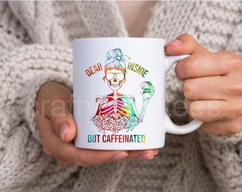 Dead Inside Buy Caffeinated Skeleton Mom Messy Bun 11 oz Coffee Mug