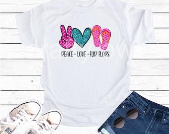 Peace Love Flip Flops Vapor Apparel T-Shirt