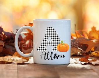 Custom Personalized Initial Fall Autumn Thanksgiving Pumpkin Gift 11 oz Coffee Mug
