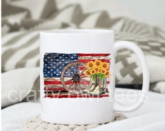 American Flag Country Boots 11 oz Coffee Mug Support our Troops