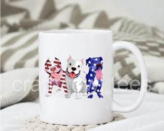 Patriotic Pitbulls Stars and Stripes  11 oz Coffee Mug Support our Troops