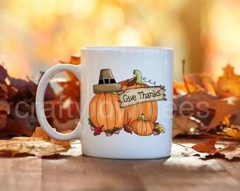 Give Thanks Pumpkin Fall Thanksgiving 11 oz Coffee Mug