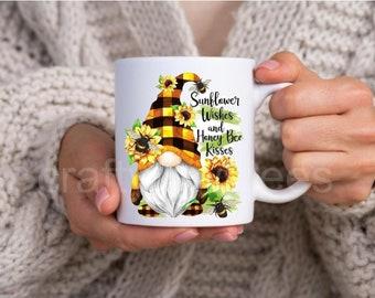 Gnome Sunflower Wishes And Honey Bee Kisses 11 oz Coffee Mug