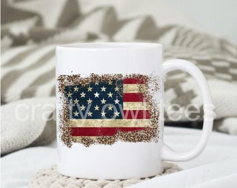 American Flag  11 oz Coffee Mug Support our Troops