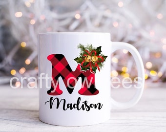 Custom Personalized Initial Christmas Gift 11 oz Coffee Mug