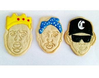 1 Dozen - Hip Hop Sugar Cookies- Tupac, Biggie, Eazy-E