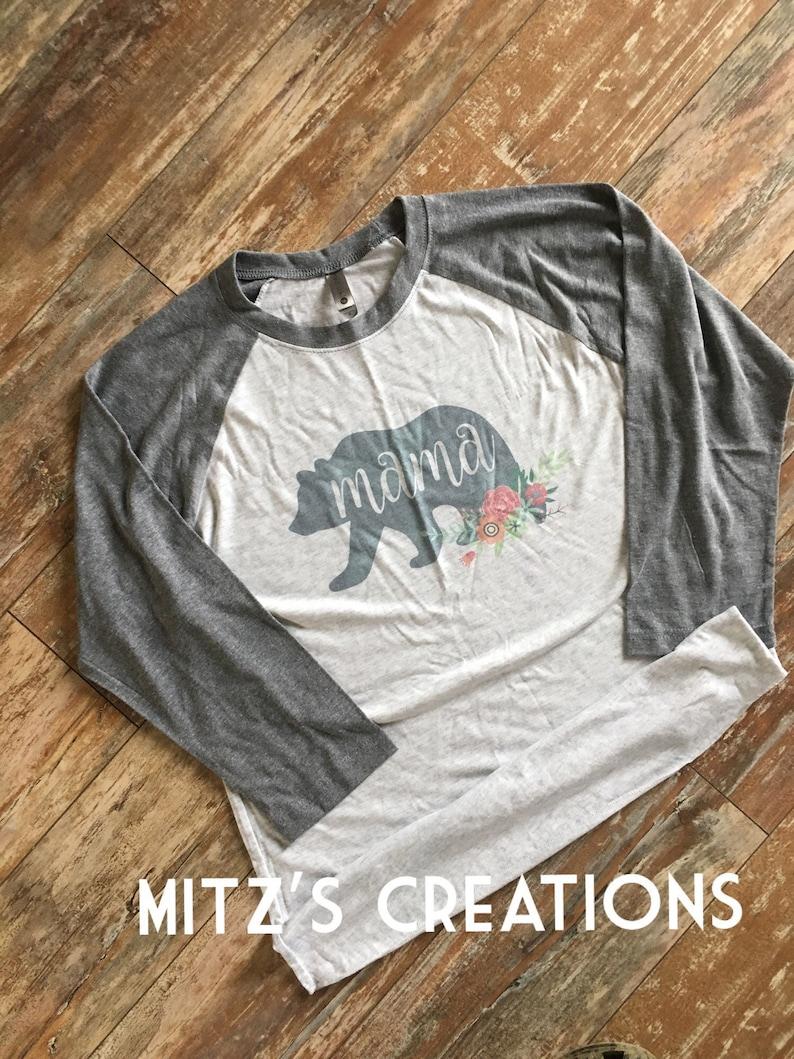 5bb71b5c7b6 Mama Bear Raglan FLORAL PRINT Baseball Style Shirt
