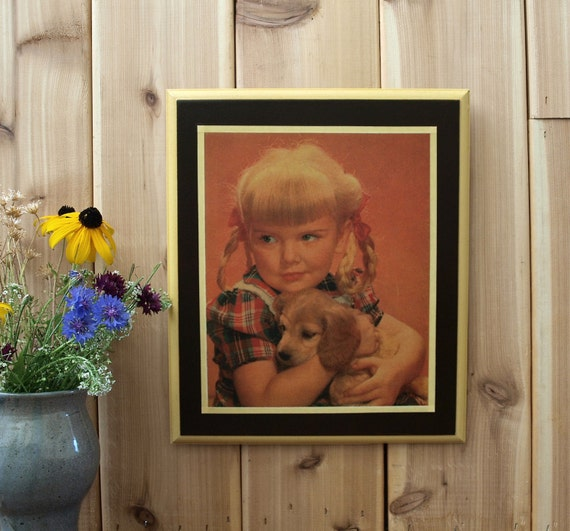 Wood Decoupage Wall Art Plaque Little Blonde Girl with Puppy   Etsy