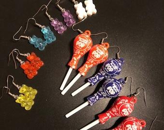 Gummy Bear Earrings, Tootsie Roll Pop Novelty Earrings, Candy Jewelry, Earrings for teens, Earrings for kids, earrings for women