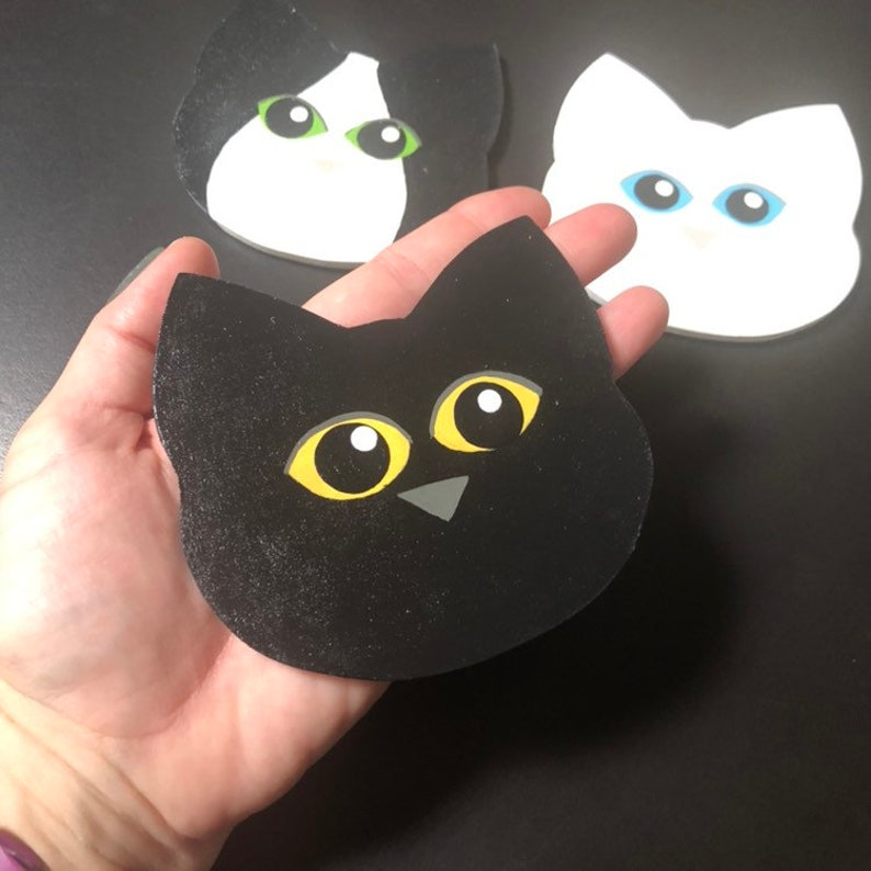 Cat Face Coasters Hostess Gifts Gifts for Kitten Lovers Hand Painted  Feline Art