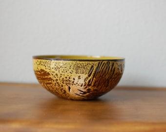Hanova enamel on steel small tan bowl brutalist serving lava effect