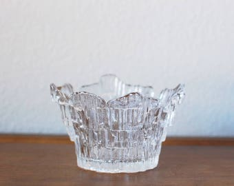 Mid Century Humppila Glass Candle Holder Small Bowl Finnish Glass Scandinavian Ice Icicle texture Mid Century Vintage