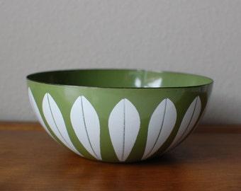 "Cathrineholm 8"" green white lotus enamel bowl Norway"