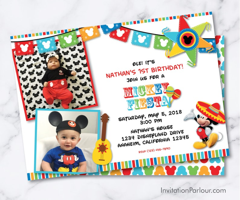 bbbc734fbf6 Mickey Mouse Fiesta Invitations Printable Digital File