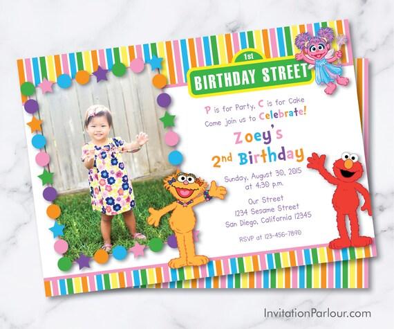 Sesame Street Zoe Abby Elmo Birthday Girl Invitations