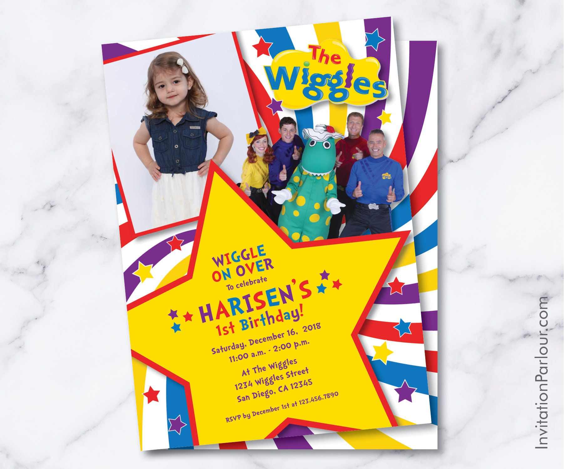 Wiggles Birthday Invitations Digital File Etsy