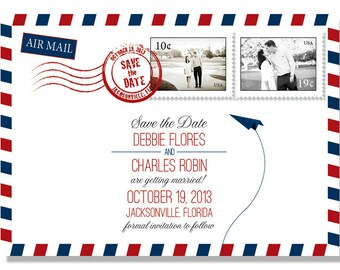 Air Mail Travel Save the Date - Printed Cards