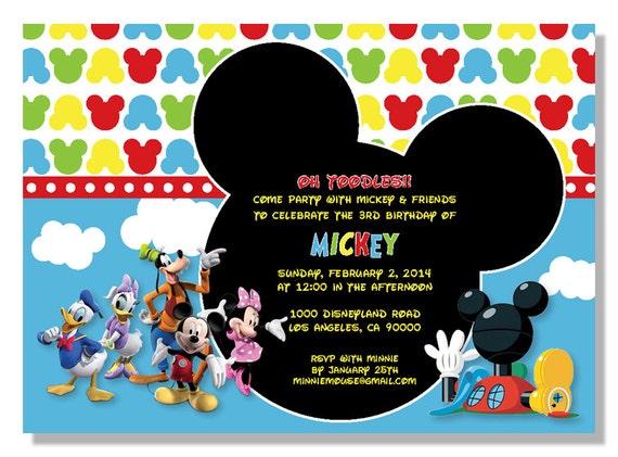 Mickey Mouse Friends Birthday Invitations Digital File