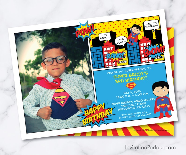 Superman Comics Birthday Invitations Digital File Download