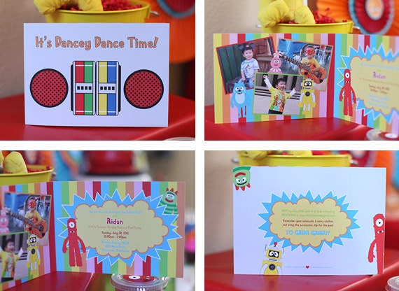 Yo gabba gabba bi folded birthday invitations 25 pack etsy image 0 filmwisefo