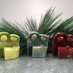 Small Modern Nativity, Joseph and Mary, Jesus, lime green, turquoise, red, one piece, year long decoration