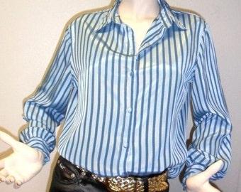 Vintage  80's Shiney 2 Tone Blue Striped Satiny TOP Shirt Sz 12