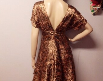 Satiny Leopard mini dress -Deep V Back Vintage 90's Sz Small