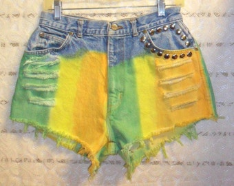 Vintage  High Waisted Hand Dyed Denim Shorts - Studded--Waist 29   inches