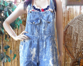 Vintage 80's bleached  Denim Overalls  - Size Small