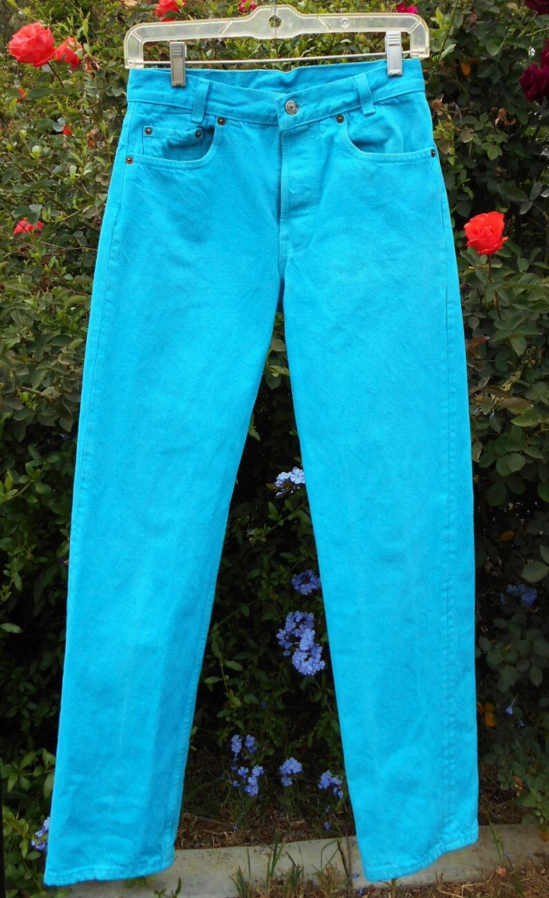 f352bf704cc Vintage 80's Levis Turquoise Denim Jeans Waist 26 inches | Etsy