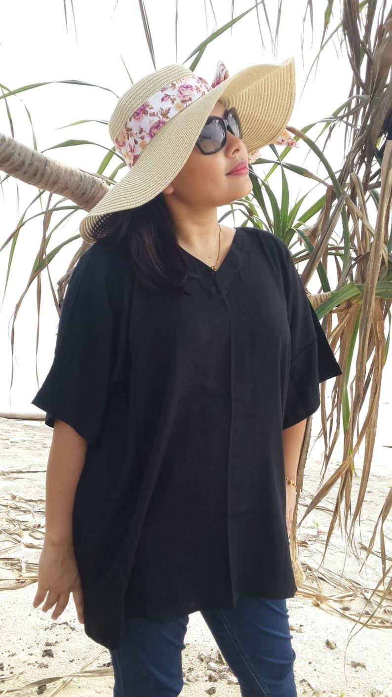 V Neck Sleeve Charcoal Black Bali Batik Top Tunic Kaftan Caftan Dress Blouse Loungewear Summer Beach Cover Up Regular Size 1X 2X 3X