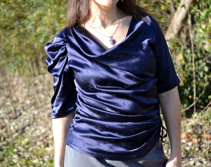 Featured listing image: Ladies silk draped blouse, high fashion blouse handmade in USA, AC Ashworth & Company