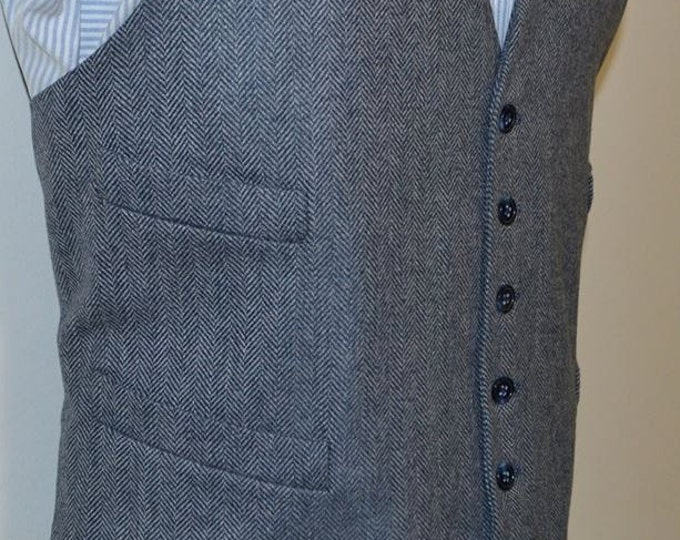 Featured listing image: Mens Vest, herringbone in wool tweed, 100% acetate lined , AC Ashworth & Company formal wear, custom fit, four welt pockets, handmade in USA