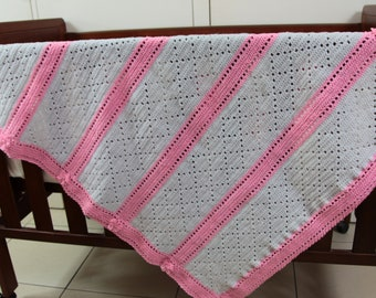 Hand Crafted Crochet Baby Blanket 8 Ply Acrylic
