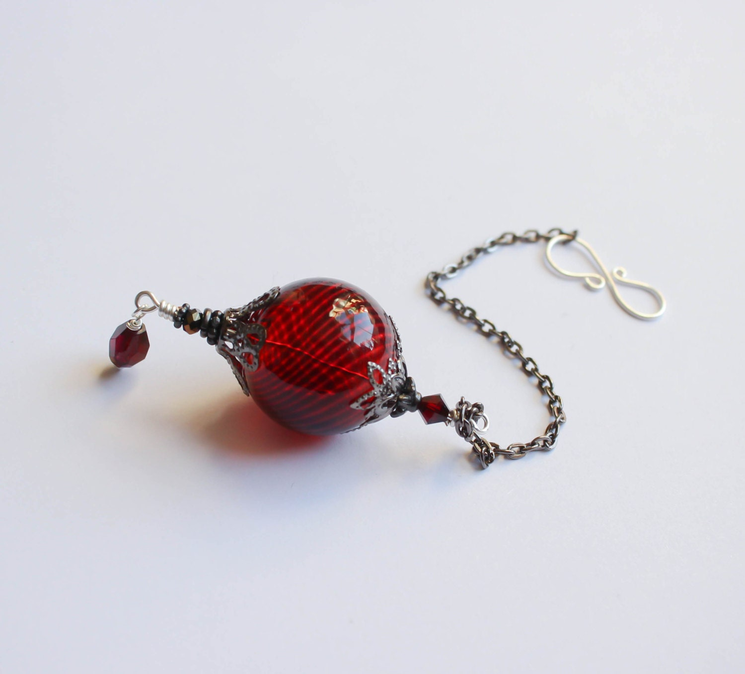 Witch Ball in Gunmetal and Blood Red Wee Portable Spirit