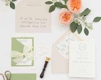 Eucalyptus Greenery Monogram Wedding Invitation