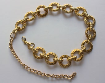 round chain links 1960s-70s tassel belt Vintage adjustable gold chain belt with tassel goldtone metal 44 inch maximum length