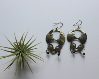 Vintage African Queen Face Cutout Dangle Earrings 1980s