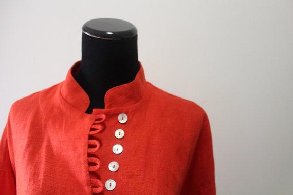 Vintage Women's Jan Barboglio Orange Linen Blouse… - image 6