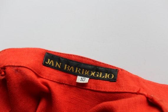 Vintage Women's Jan Barboglio Orange Linen Blouse… - image 3