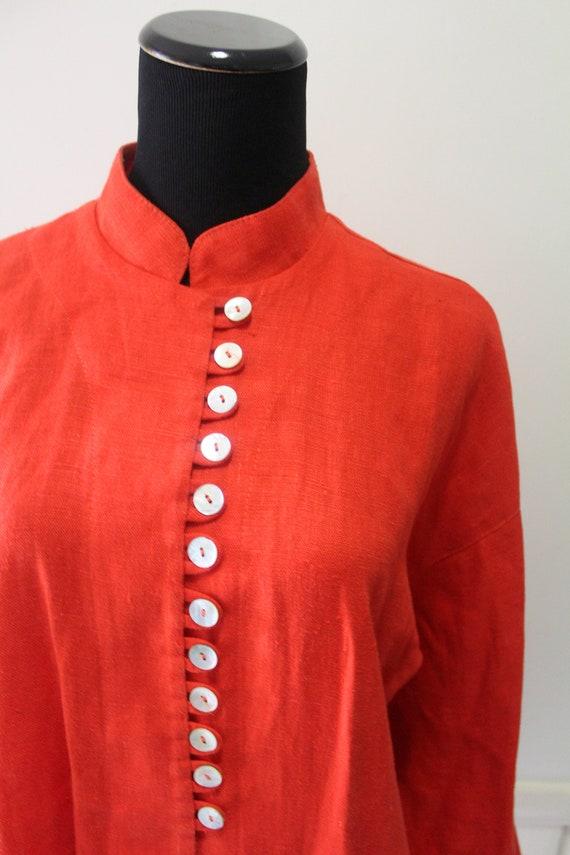 Vintage Women's Jan Barboglio Orange Linen Blouse… - image 2
