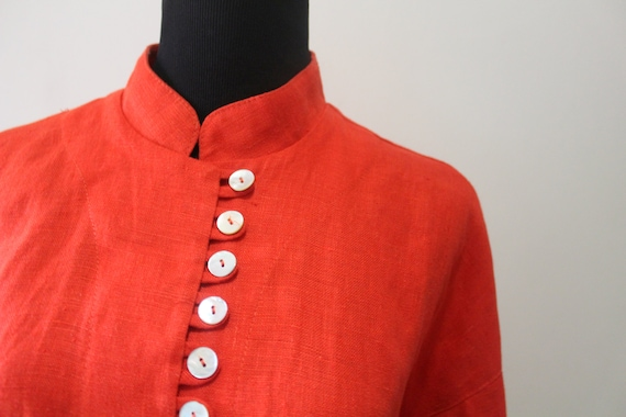 Vintage Women's Jan Barboglio Orange Linen Blouse