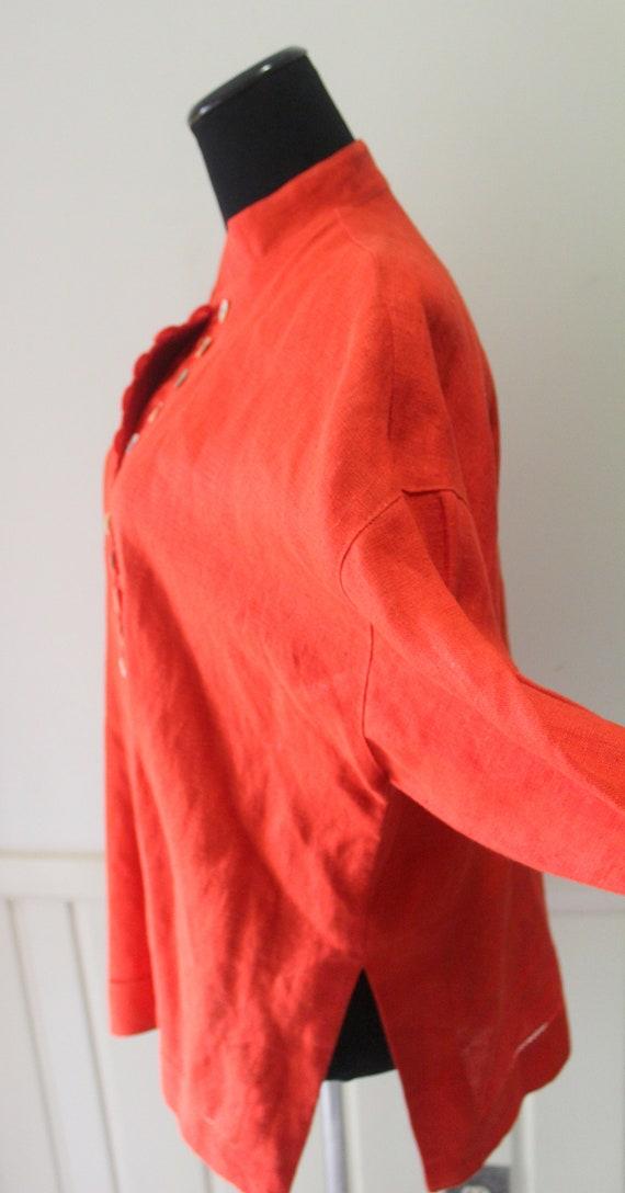 Vintage Women's Jan Barboglio Orange Linen Blouse… - image 8