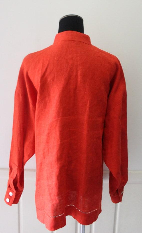 Vintage Women's Jan Barboglio Orange Linen Blouse… - image 9