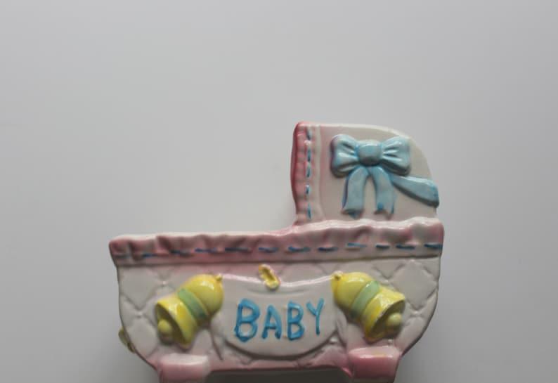 Vintage My-Neil Ceramic Bassinet Musical Planter Rock-A-Bye Baby 1985