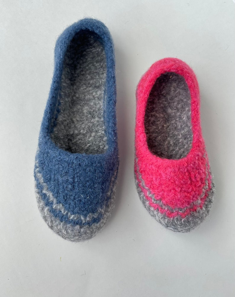 2 PDFs Kids & Toddlers Spring Felted Slippers Wool Knitting image 0